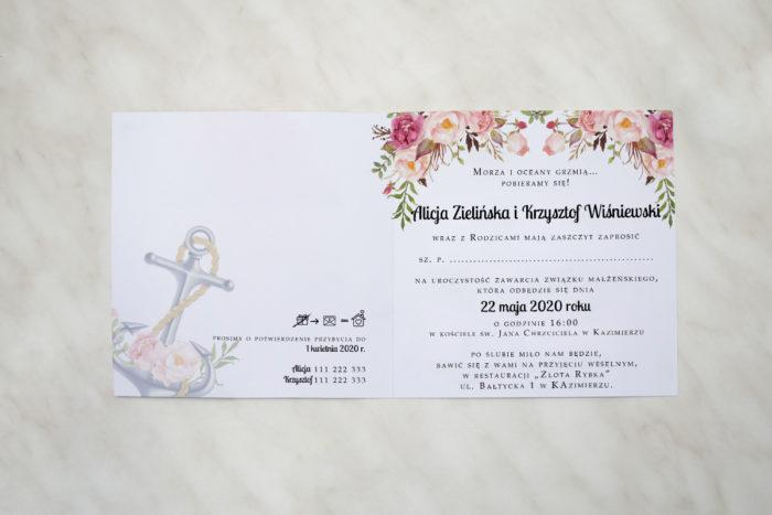 kwadratowe zaproszenie ślubne