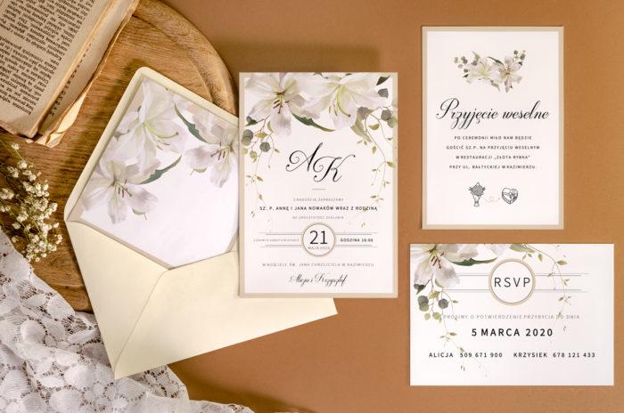 zaproszenie-slubne-jednokartkowe-recyklingowe-eleganckie-lilie-papier-matowy-350g-koperta-b6-szara-bez-wklejki