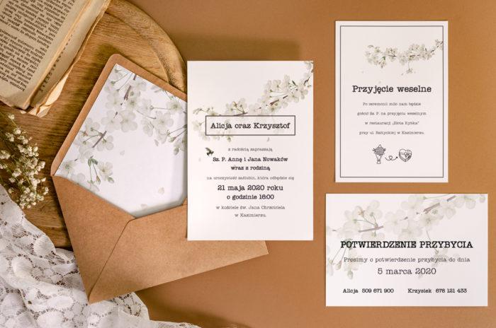 Recyklingowe-BIAŁE-Kwiat-Wiśni-i-pismo-maszynowe-ZESTAW-koperta-eco