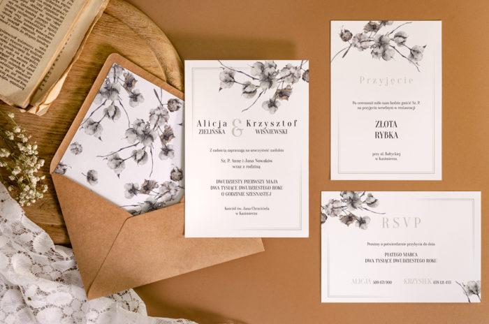 zaproszenie-slubne-jednokartkowe-recyklingowe-kwiaty-bawelny-papier-matowy-350g-koperta-b6-szara-bez-wklejki