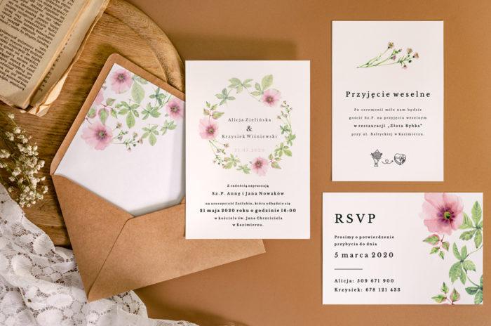 zaproszenie-slubne-jednokartkowe-recyklingowe-rozowy-wianek-papier-matowy-350g-koperta-b6-szara-bez-wklejki