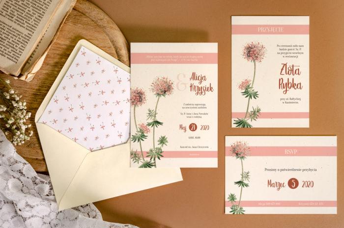 zaproszenie-slubne-jednokartkowe-recyklingowe-rozowe-kwiaty-papier-matowy-350g-koperta-b6-szara-bez-wklejki