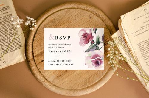 akwarelowe róże karteczka dodatkowa do zaproszenia rsvp