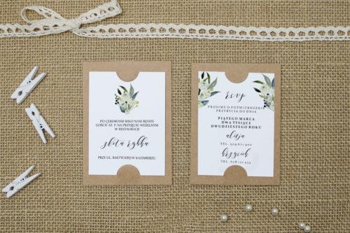 dodatkowa karteczka z białą różą