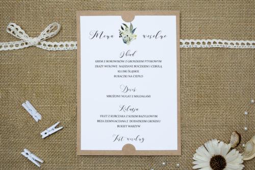menu weselne w białe róże