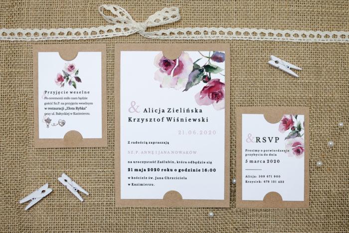 zaproszenie z dodatkowymi karteczkami w różowe róże