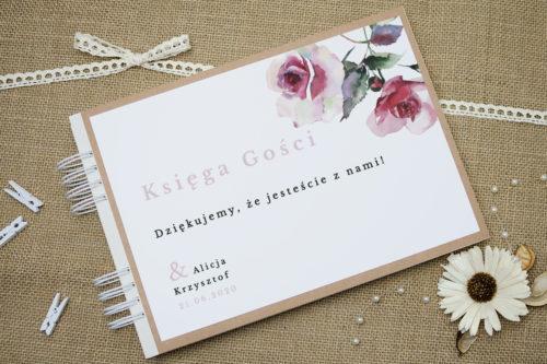 księga gości w różowe kwiaty