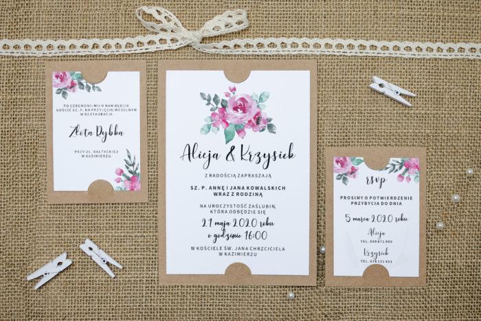 zaproszenie z dodatkowymi karteczkami z różowymi różami