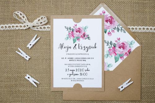 Zaproszenie z akwarelowymi różami