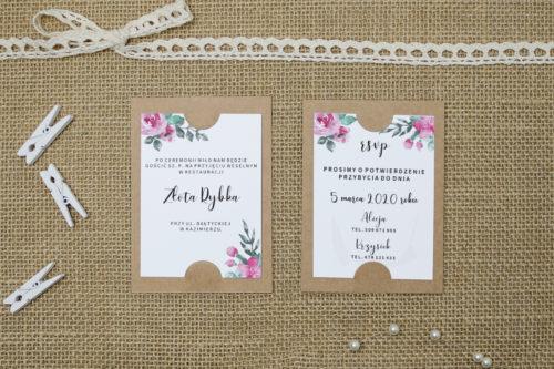 dodatkowa karteczka z różowymi różami