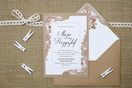 Zaproszenie z kopertą w beżową koronke