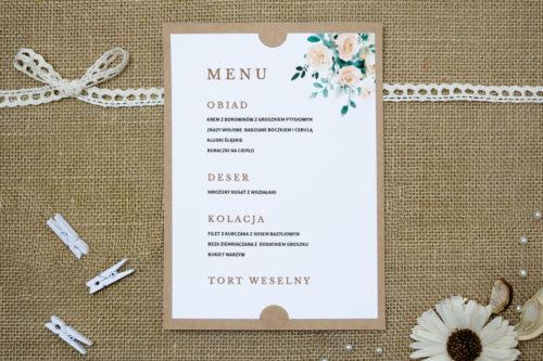 menu weselne beżowe bukiety