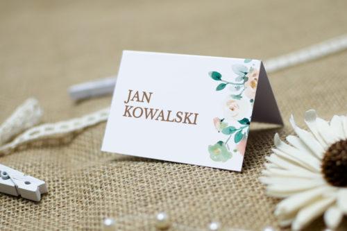 winietka weselna we wzorze beżowych kwiatów