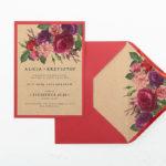 B6 czerwona z wklejką Bordowe kwiaty