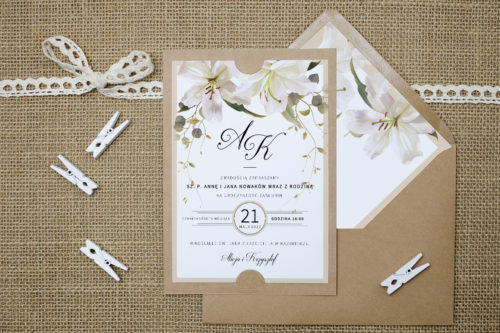 Zaproszenie we wzorze białych lilii