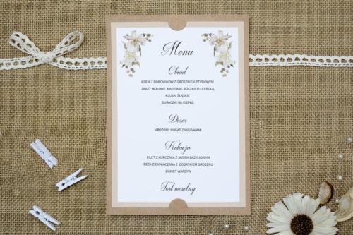menu weselne w białe lilie