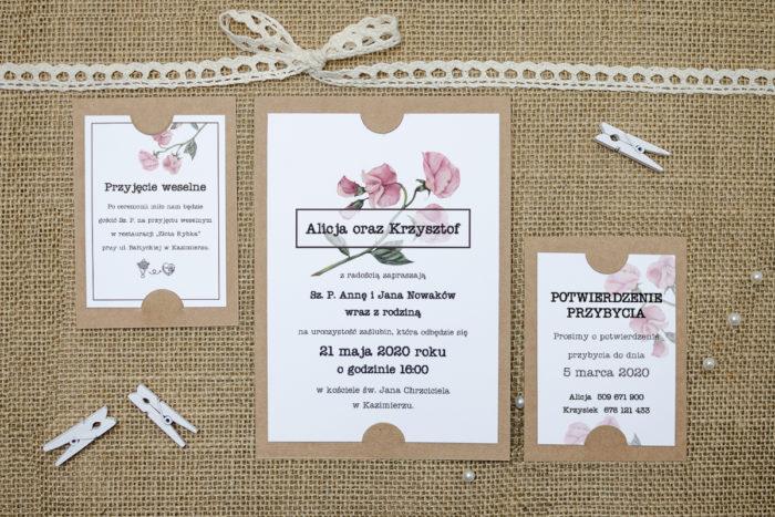zaproszenie z dodatkowymi karteczkami z kwiatem eustomy