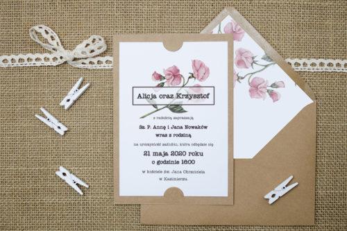 Zaproszenie we wzorach kwiatów eustomy