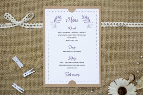 menu weselne w fioletowe kwiaty
