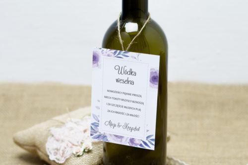 zawieszka na alkohol z fioletowymi kwiatami