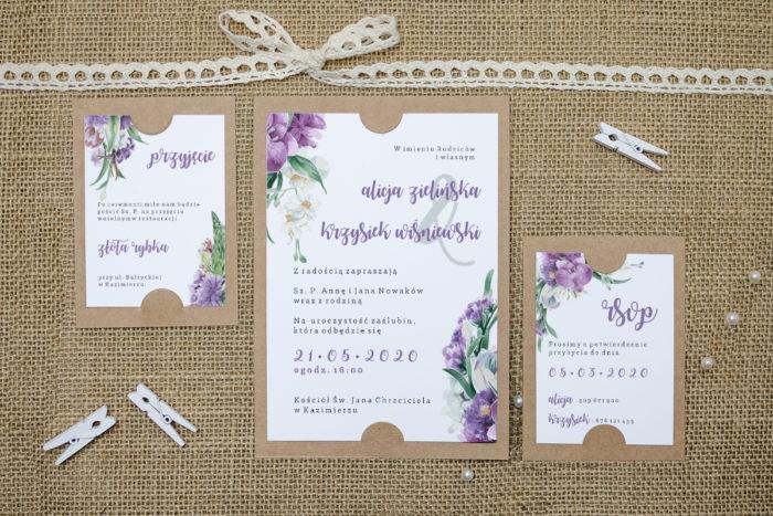 zaproszenie z dodatkowymi karteczkami z fioletowym bukietem kwiatów