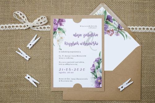 Zaproszenie we wzorze fioletowego bukietu
