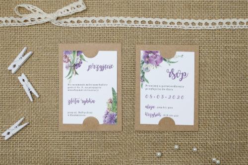 dodatkowa karteczka z fioletowym bukietem kwiatów