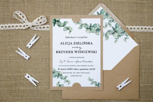 Zaproszenie z gałązkami eukaliptusa