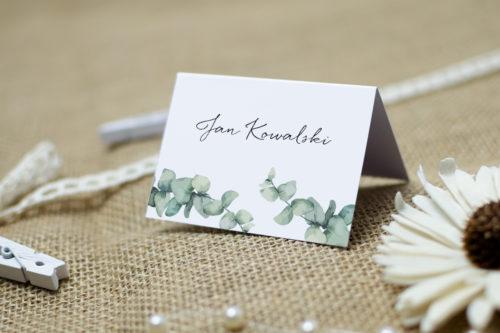 winietka ślubna z gałązkami eukaliptusa