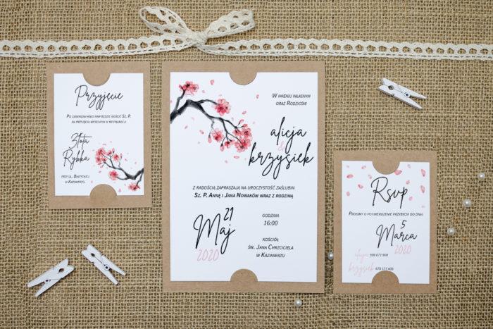 zaproszenie z dodatkowymi karteczkami ze wzorem japońskiego drzewa wiśni