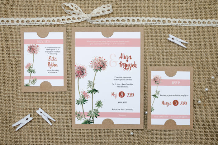 zaproszenie z dodatkowymi karteczkami różowe kwiaty
