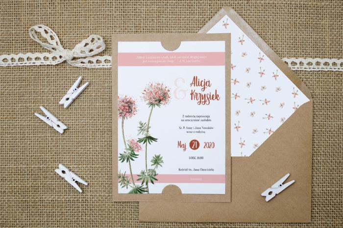 zaproszenie-slubne-boho-rozowe-kwiaty-podkladki-szarab6-papier-satynowany-koperta-bez-koperty