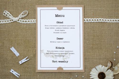 menu weselne we wzorze kwiatu wiśni