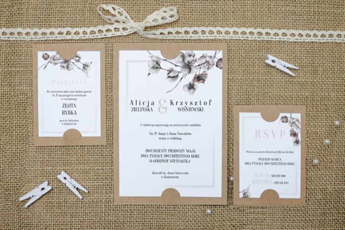 zaproszenie z dodatkowymi karteczkami z kwiatami bawełny