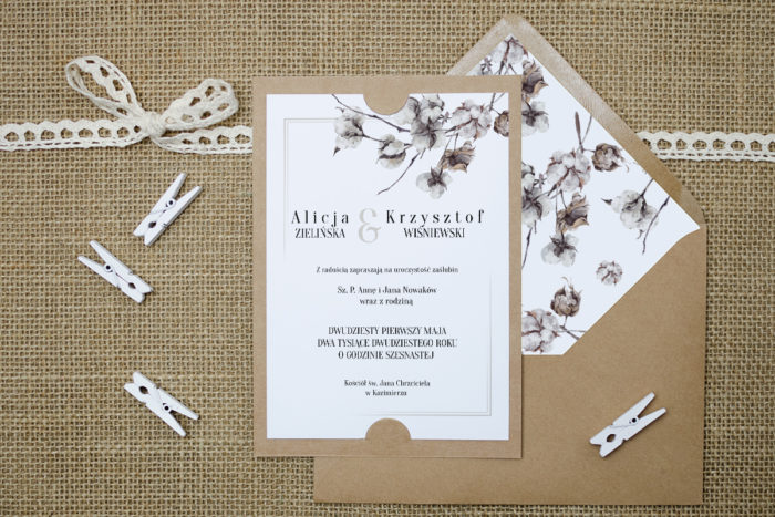 zaproszenie-slubne-boho-kwiaty-bawelny-podkladki-szarab6-papier-satynowany-koperta-bez-koperty