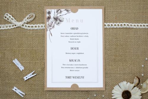 menu weselne w delikatne kwiaty bawełny
