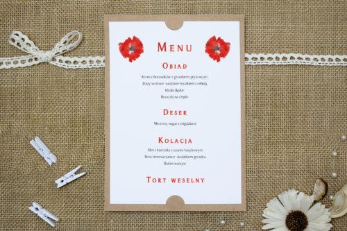 menu weselne w czerwone maki