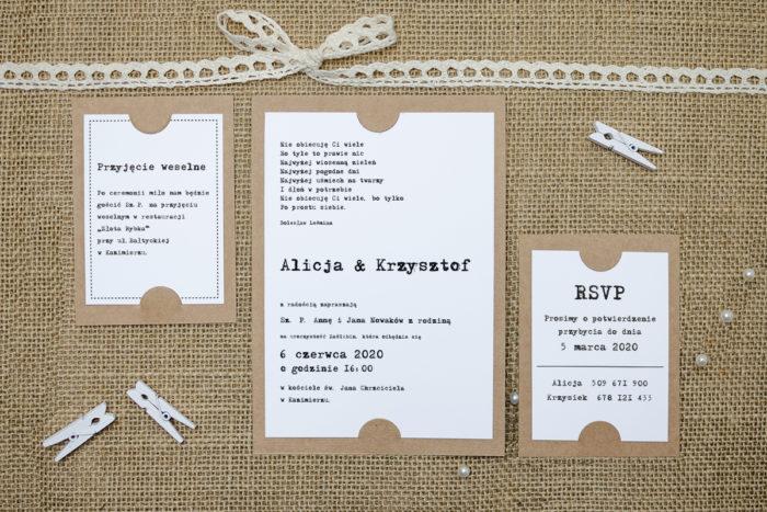 zaproszenie z dodatkowymi karteczkami z pismem maszynowym