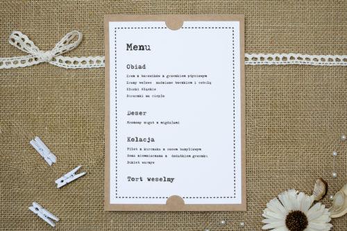 menu weselne w piśmie maszynowym