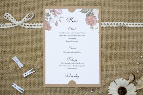 menu weselne w peonie stylu vintage