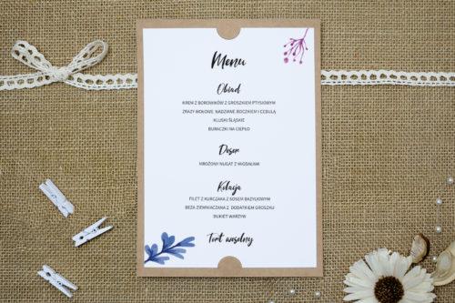 menu z niebiesko - różowymi kwiatami