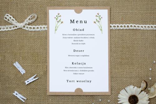 menu weselne z różowymi kwiatami