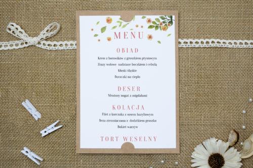 menu weselne w rozrzucone kwiaty