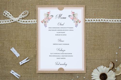 menu weselne w różowe kwiaty