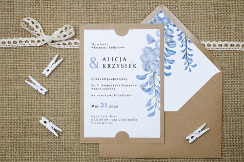 zaproszenie we wzorze niebieskiej wisterii