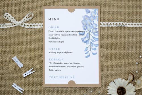 menu weselne we wzorze niebieskiej wisterii