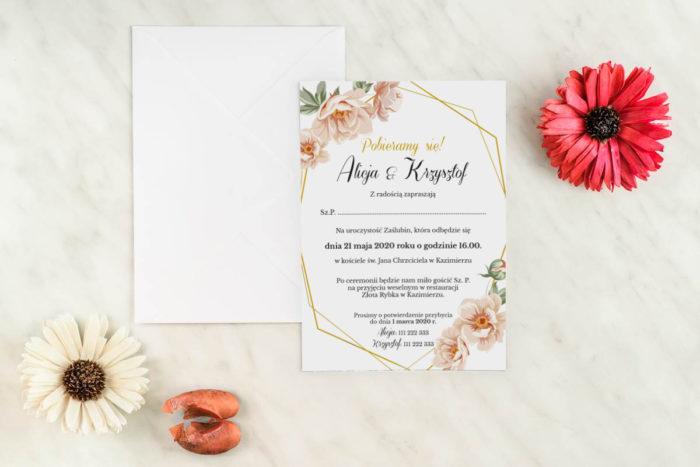 zaproszenie-slubne-jednokartkowe-geometryczne-rozowe-kwiaty-papier-matowy-koperta-bez-koperty