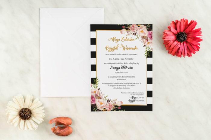 zaproszenie-slubne-vintage-jednokartkowe-roze-i-paski-papier-matowy-koperta-bez-koperty