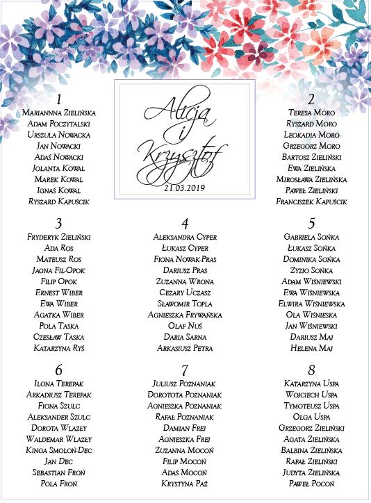 menu weselne w kolorowe kwiatuszki