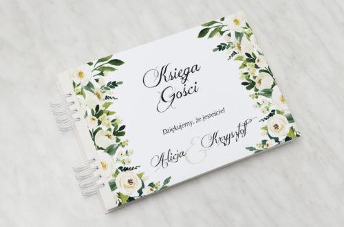 księga gości ślubnych białe kwiaty